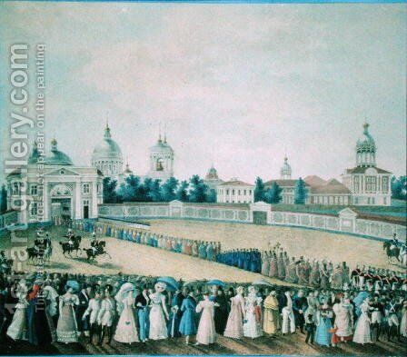 The Visit of Alexander I 1777-1825 to the Alexander Nevsky Monastery, 1821 by Anonymous Artist - Reproduction Oil Painting