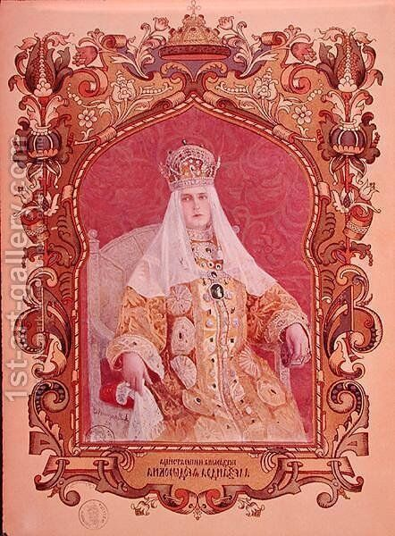 Portrait of Tsarina Alexandra Feodorovna 1872-1918 in traditional coronation dress, c.1894 by Anonymous Artist - Reproduction Oil Painting
