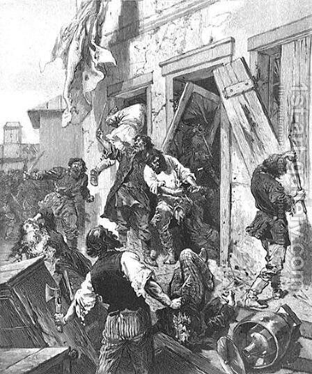 Attack on a Jewish house in Konnovino, near Nijni-Novgorod, 7th June 1884, in LIllustration, 2nd August 1884, from a sketch by Karazine, correspondent of LIllustration by Anonymous Artist - Reproduction Oil Painting