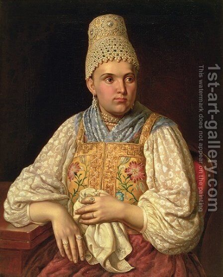 Portrait of Anna Petrovna Filatova, c.1840 by Anonymous Artist - Reproduction Oil Painting