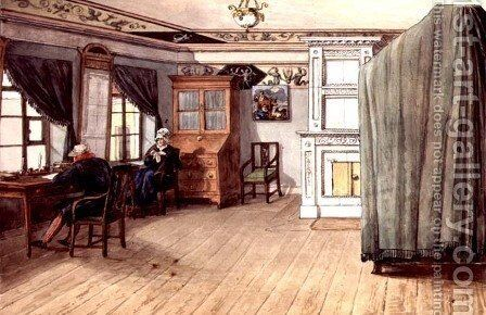 Neo-Classical Writing Room with an Elderly Couple, 1820 by Anonymous Artist - Reproduction Oil Painting