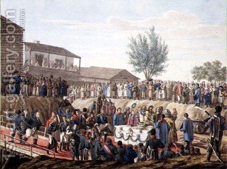 The Laying of the First Stone of the Customs House at Mohiloff in 1820 by Anonymous Artist - Reproduction Oil Painting