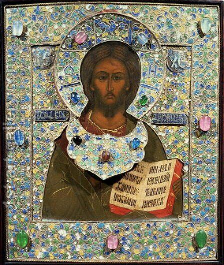 Christ Pantocrator, icon by Anonymous Artist - Reproduction Oil Painting