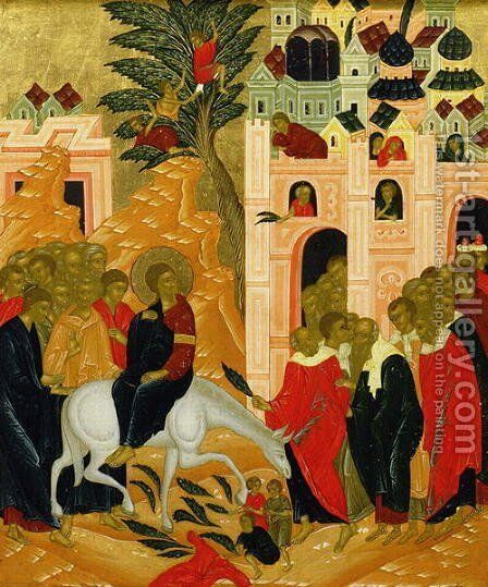 Christs Entry into Jerusalem, icon by Anonymous Artist - Reproduction Oil Painting