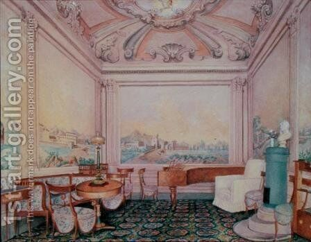 Interior of the reception room in a manor house, 1840-50s by Anonymous Artist - Reproduction Oil Painting