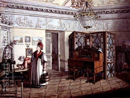 Neo-Classical Nursery in St. Petersburg, 1819 by Anonymous Artist - Reproduction Oil Painting