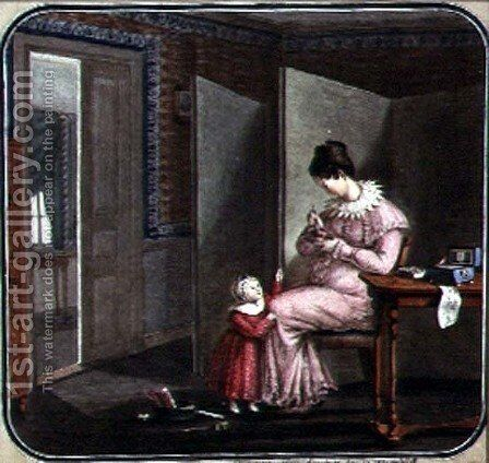 Mother and Child in an Interior, 1820 by Anonymous Artist - Reproduction Oil Painting