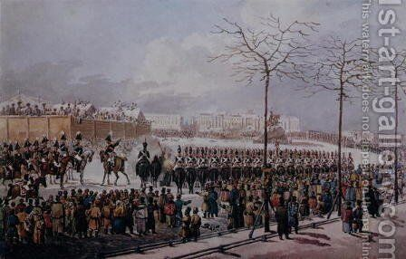 The Insurrection of the Decembrists at Senate Square, St. Petersburg on 14th December, 1825 by Anonymous Artist - Reproduction Oil Painting