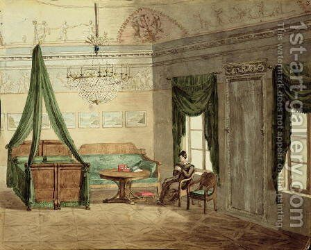 Neo-Classical Bedchamber, 1819 by Anonymous Artist - Reproduction Oil Painting