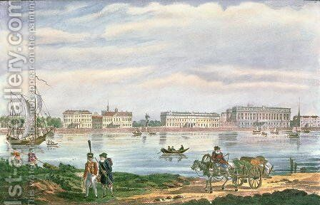 The Marble Palace and the Neva Embankment in St. Petersburg, 1822 by Anonymous Artist - Reproduction Oil Painting