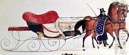 Horse Drawn Sleigh 5 by Anonymous Artist - Reproduction Oil Painting
