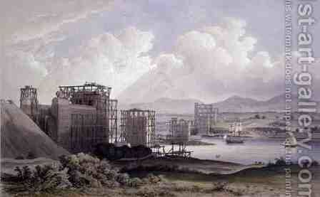Britannia Tubular Bridge over the Menai Straits, taken during construction in 1848, lithograph by Day and Son, 1848 by (after) Russell, S. - Reproduction Oil Painting