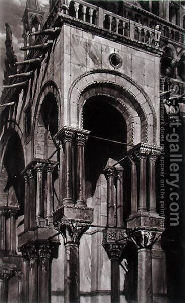 St. Marks, Southern Portico, from Examples of the Architecture of Venice, by John Ruskin, aquatint by Lupton, 1851 by (after) Ruskin, John - Reproduction Oil Painting