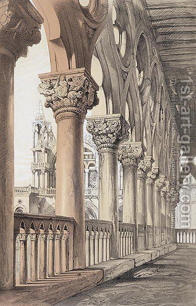 The Ducal Palace, Renaissance Capitals of the Loggia, from 'Examples of the Architecture of Venice by John Ruskin, engraved by G. Rosenthal, 1851 by (after) Ruskin, John - Reproduction Oil Painting