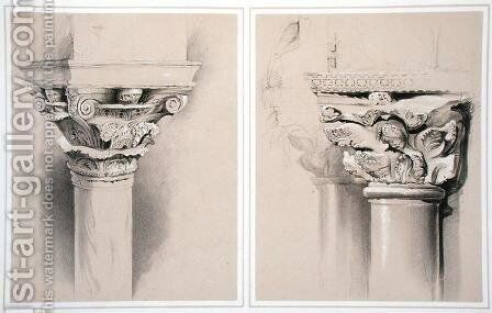 Torcello, Capital of Nave Pillar and St. Mark's, Capital from Central Porch, from Examples of the Architecture of Venice by John Ruskin, engraved by G. Rosenthal, 1851 by (after) Ruskin, John - Reproduction Oil Painting