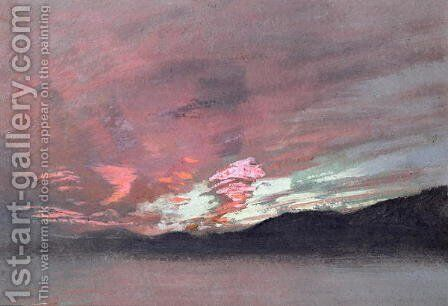 Stormy Sunset from Brantwood, Ruskins home in Cumbria by (attr. to) Ruskin, John - Reproduction Oil Painting