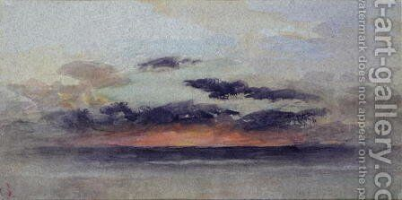 Stormy Sunset by (attr. to) Ruskin, John - Reproduction Oil Painting