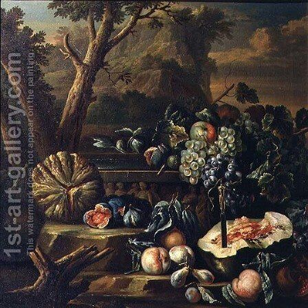Still Life of Fruit in a Landscape by (circle of) Ruoppolo, Giovanni-Battista - Reproduction Oil Painting