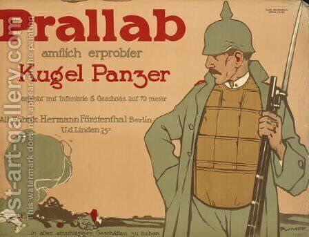 German advertisement for a bullet-proof vest, 1914-1916 by Carl L.T. Rumpf - Reproduction Oil Painting