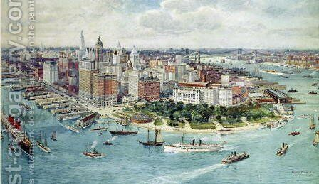 A Birds Eye View of Lower Manhattan, 1911 by Richard Rummell - Reproduction Oil Painting