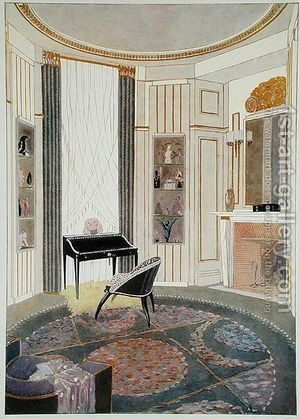Interior with furniture designed by Ruhlmann, from a collection of prints published in 4 volumes by Albert Levy, c.1924-26 by Emile Jacques Ruhlmann - Reproduction Oil Painting