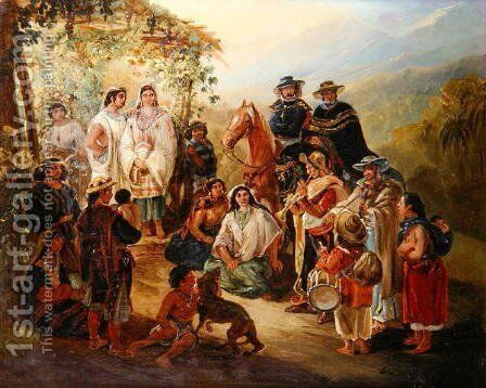 Regional Costumes, 1850 by Johann Moritz Rugendas - Reproduction Oil Painting