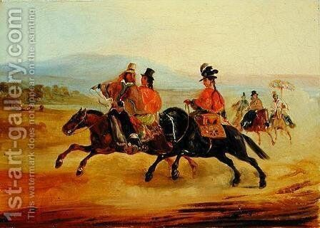 Chilean Riders, c.1835-36 by Johann Moritz Rugendas - Reproduction Oil Painting