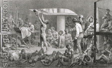 Negroes in the Bilge, engraved by Deroi, pub. by Engelmann, c.1835 by Johann Moritz Rugendas - Reproduction Oil Painting