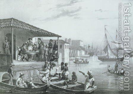Disembarkation, engraved by Deroi and Leon Jean Baptiste Sabatier fl.1827-87 pub. by Engelmann, c.1835 by (after) Rugendas, Johann Moritz - Reproduction Oil Painting