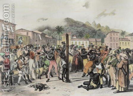 Public Punishments in the Place Ste. Anne, engraved by Deroi, pub. by Engelmann, c.1835 by (after) Rugendas, Johann Moritz - Reproduction Oil Painting