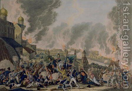 The Burning of Moscow, 15th September 1812, 1813 by Johann Lorenz Rugendas - Reproduction Oil Painting