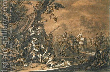Transporting the Injured after the Battle, 1698, engraved by Christian Rugendas 1708-81 c.1740 by (after) Rugendas, Georg Philipp I - Reproduction Oil Painting