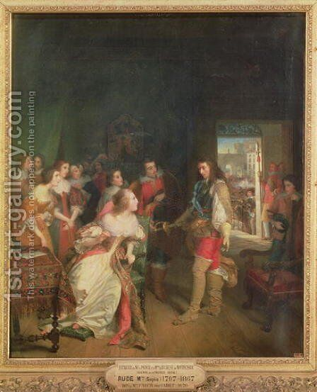 Meeting Between Louis II 1621-86 de Bourbon and Anne-Marie-Louise dOrleans 1627-93 Duchess of Montpensier in 1652 by Sophie Rude - Reproduction Oil Painting
