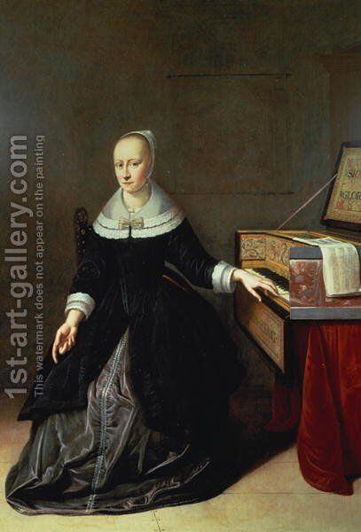 Woman by a Virginal by Jan Ruckers - Reproduction Oil Painting