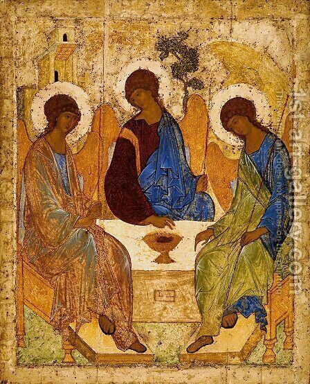 The Holy Trinity, 1420s by Andrei Rublev - Reproduction Oil Painting