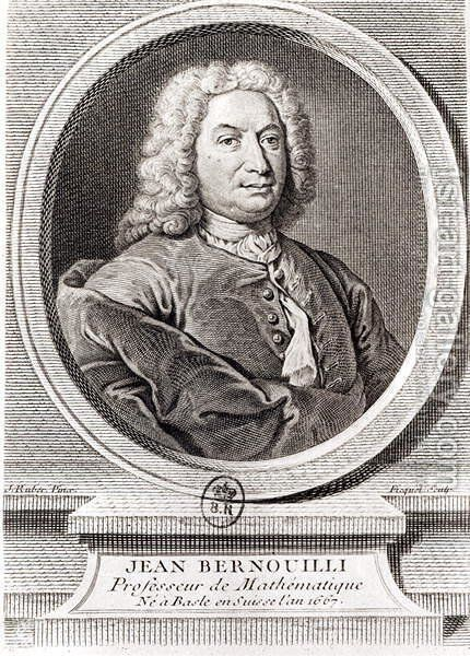 Portrait of Jean Bernoulli 1667-1748 engraved by Etienne Ficquet 1719-94 by (after) Ruber, J. - Reproduction Oil Painting
