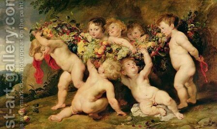 Garland of Fruit, c.1615-17 by and Snyders, F. Rubens, Peter Paul - Reproduction Oil Painting