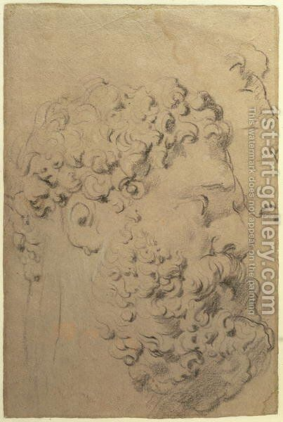Studies of the head and profile of the Farnese Hercules by Glycon, verso, 1606-08 by and Snyders, F. Rubens, Peter Paul - Reproduction Oil Painting
