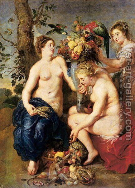 Ceres with Two Nymphs, c.1624 by and Snyders, F. Rubens, Peter Paul - Reproduction Oil Painting