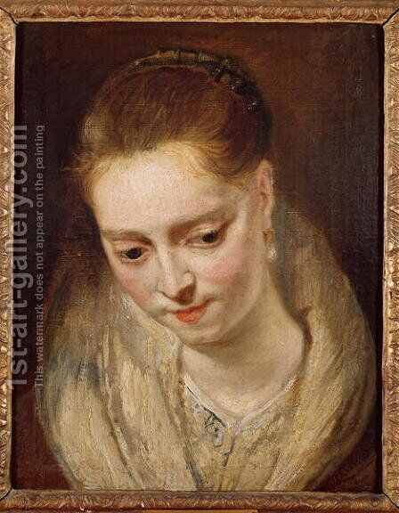 Portrait presumed to be Helene Fourment 1614-73 by (attr. to) Rubens, Peter Paul - Reproduction Oil Painting