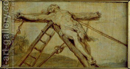 The Raising of the Cross by (attr. to) Rubens, Peter Paul - Reproduction Oil Painting