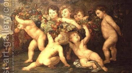 Putti playing with garlands of fruit by (after) Rubens, Peter Paul - Reproduction Oil Painting