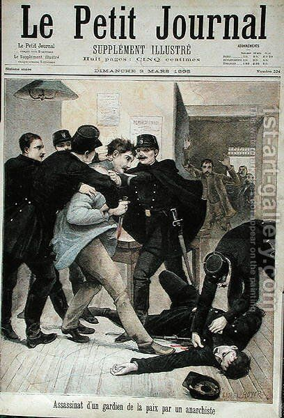 Assassination of a Policeman by an Anarchist, cover illustration of Le Petit Journal, 3rd March 1895 by (after) Royer, Lionel - Reproduction Oil Painting