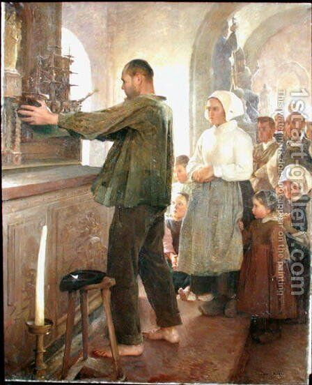 The Ex Voto, 1898 by Henri Royer - Reproduction Oil Painting