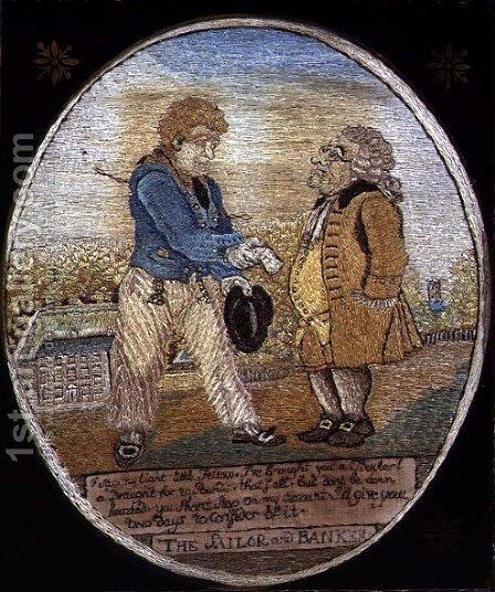 The Sailor and Banker, after a caricature pub. 1799 by (after) Rowlandson,T. and Woodward,G.M. - Reproduction Oil Painting