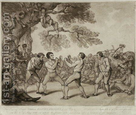 The Boxing Match between Daniel Mendoza and Richard Humphreys at Stilton, Huntingdonshire, 6th May 1789, engraved by Joseph Grozer c.1755-99 by (after) Rowlandson, Thomas - Reproduction Oil Painting