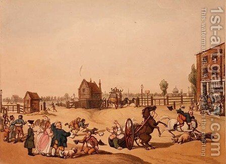 Entrance from Hackney or Cambridge Heath Turnpike with a Distant View of St Pauls, engraved by Schutz by (after) Rowlandson, Thomas - Reproduction Oil Painting