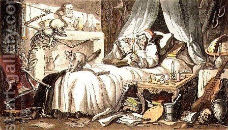 Fungus, at length, contrives to get-Deaths Dart into his Cabinet, from the English Dance of Death pub. by Rudolph Ackermann 1764-1834 1814 by (after) Rowlandson, Thomas - Reproduction Oil Painting