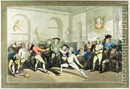 Mr H Angelos Fencing Academy, engraved by Charles Rosenberg, 1791 by (after) Rowlandson, Thomas - Reproduction Oil Painting