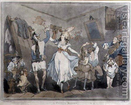A French Family, engraved by Samuel Alken 1756-1823, 1785 by (after) Rowlandson, Thomas - Reproduction Oil Painting